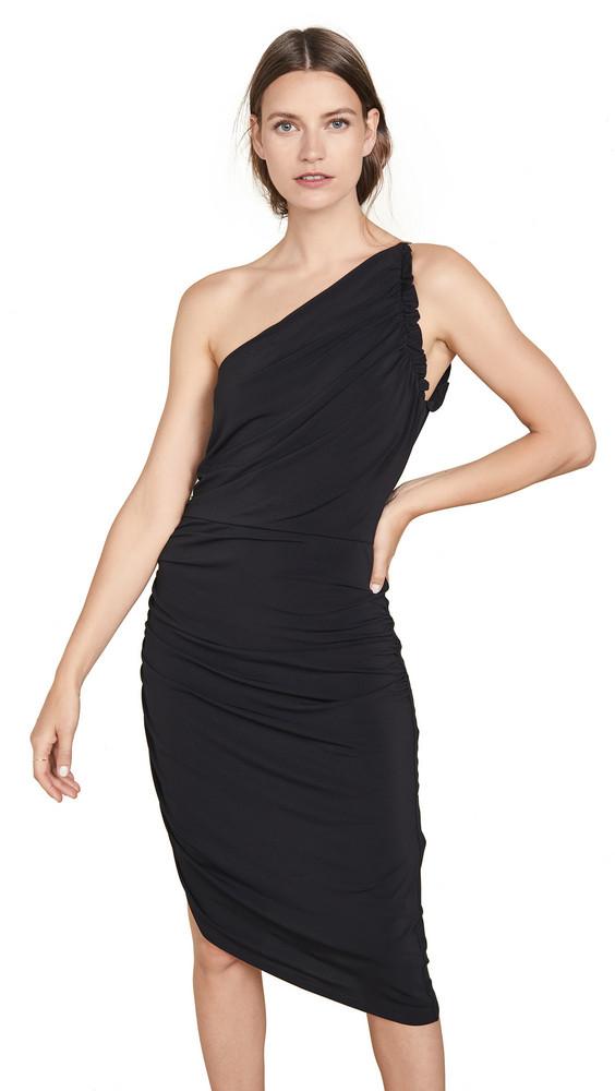 Halston Heritage One Shoulder Ruched Dress in black
