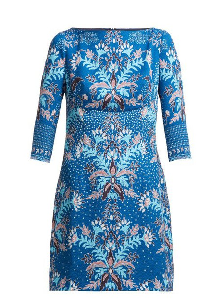 Peter Pilotto - Floral Print Waffle Weave Satin Mini Dress - Womens - Blue Multi