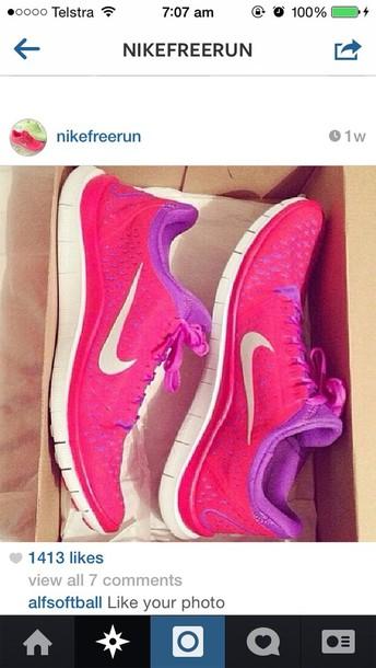 shoes nike pink purple free run