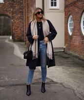 shoes,ankle boots,black boots,heel boots,cropped jeans,skinny jeans,gucci bag,black bag,black coat,scarf,black top