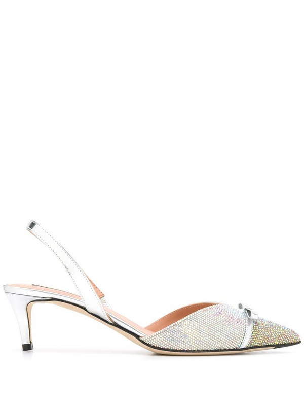 Marco De Vincenzo bow sling-back pumps in silver