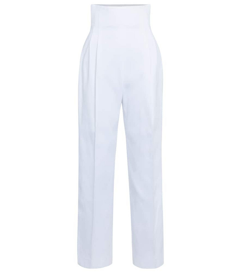 Alaïa High-rise cotton gabardine pants in white