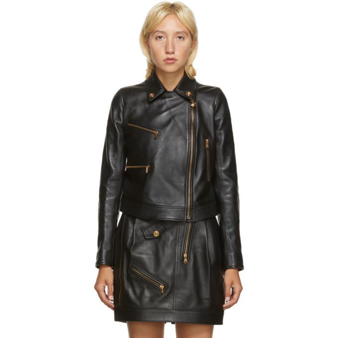Versace Black Leather Medusa Jacket in nero