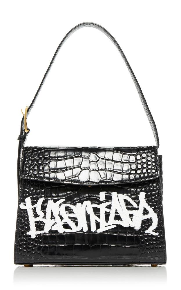 Balenciaga Ghost Printed Croc-Effect Leather Shoulder Bag in black