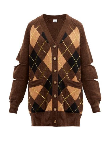 Burberry - Agnese Cutout Argyle-check Wool-blend Cardigan - Womens - Brown Multi