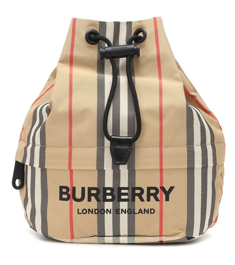 Burberry Phoebe Check drawstring pouch in beige