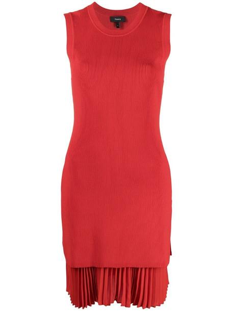 Theory pleated hem mini dress in red