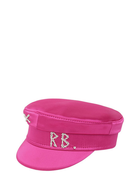RUSLAN BAGINSKIY Baker Boy Satin Hat W/crystal in pink