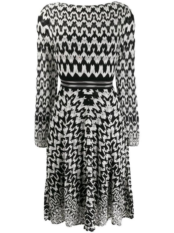 Missoni geometric-print flared dress in black