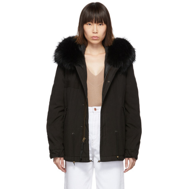 Mr and Mrs Italy Mr & Mrs Italy Black Mini Fur Army Parka