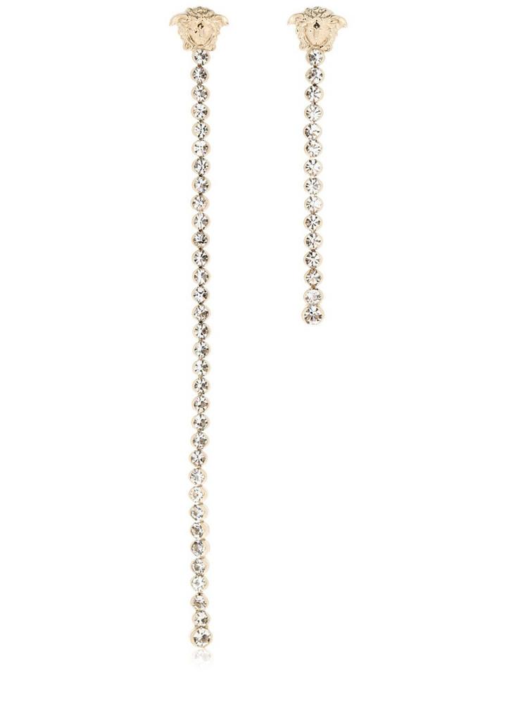 VERSACE Asymmetric Crystal Pendant Earrings in gold