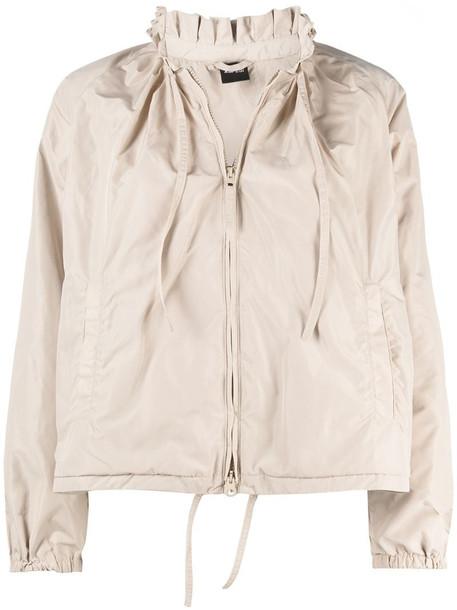 Aspesi ruffled-neck lightweight jacket in neutrals