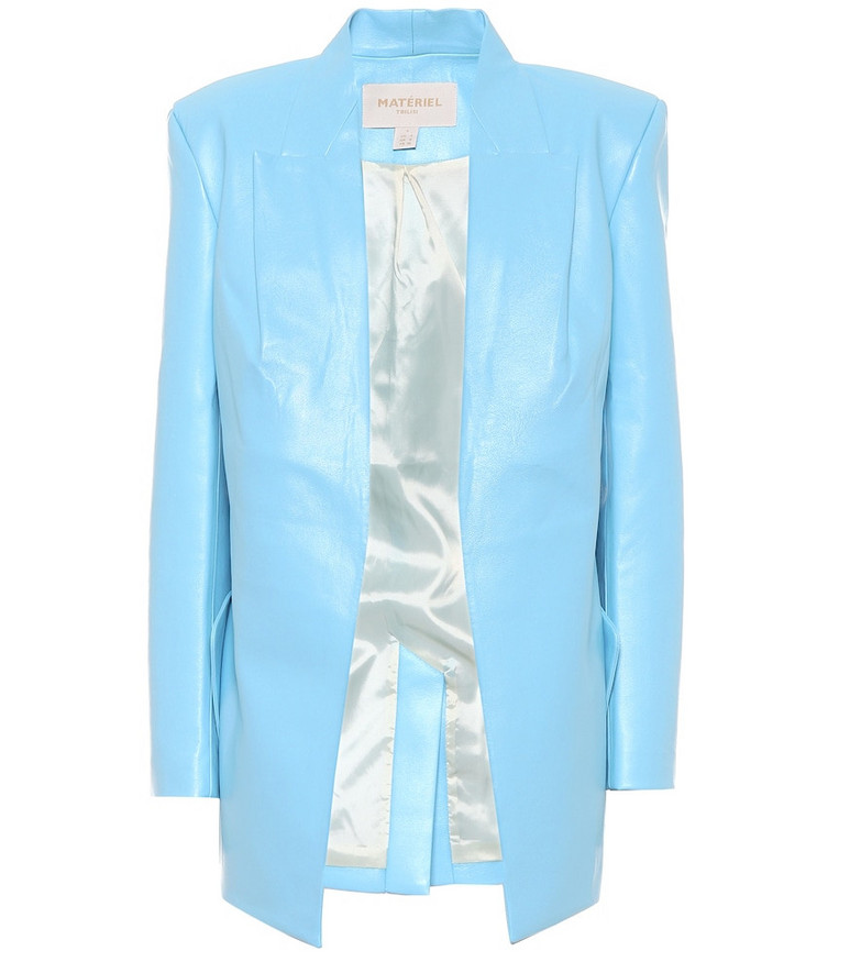 Matériel Tbilisi Faux leather longline blazer in blue