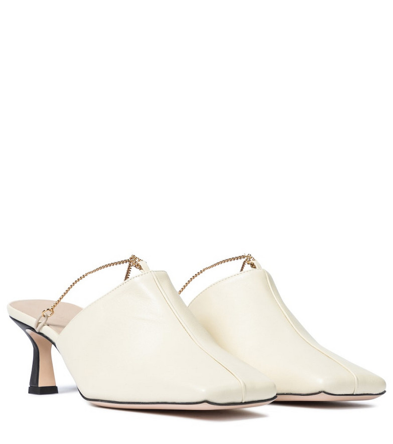 Wandler Isa embellished leather mules in neutrals