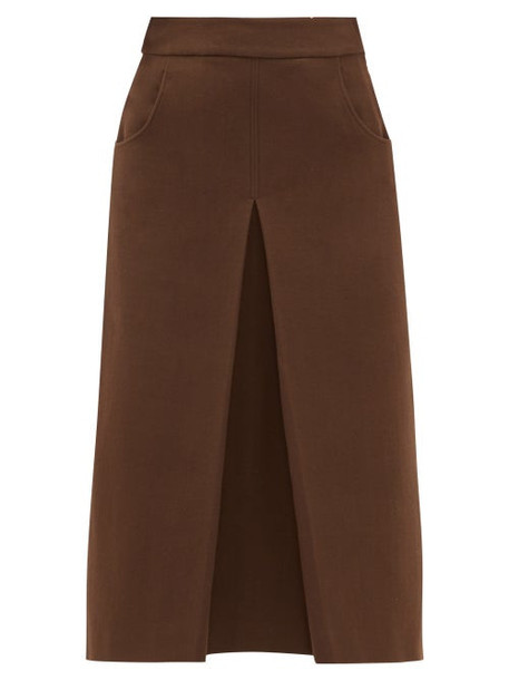 Françoise - Pleated Cotton Blend Crepe Midi Skirt - Womens - Brown