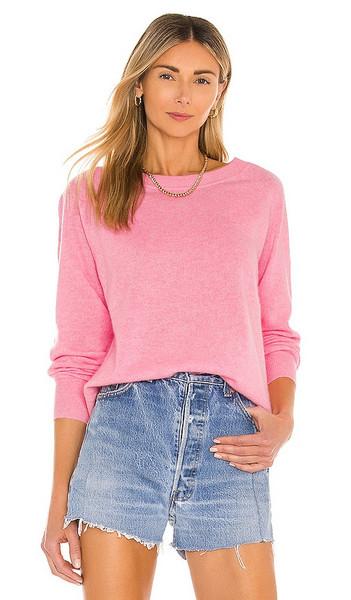 White + Warren White + Warren Cashmere Long Sleeve Sweatshirt in Pink