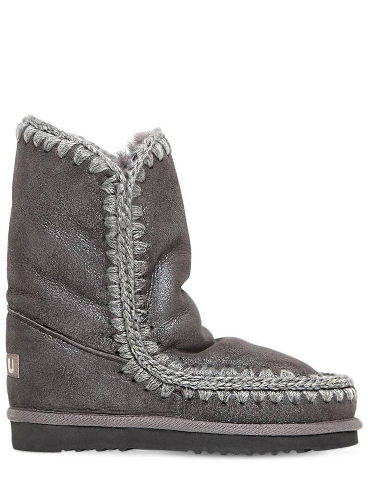 MOU 20mm Eskimo 24 Metallic Shearling Boots in grey