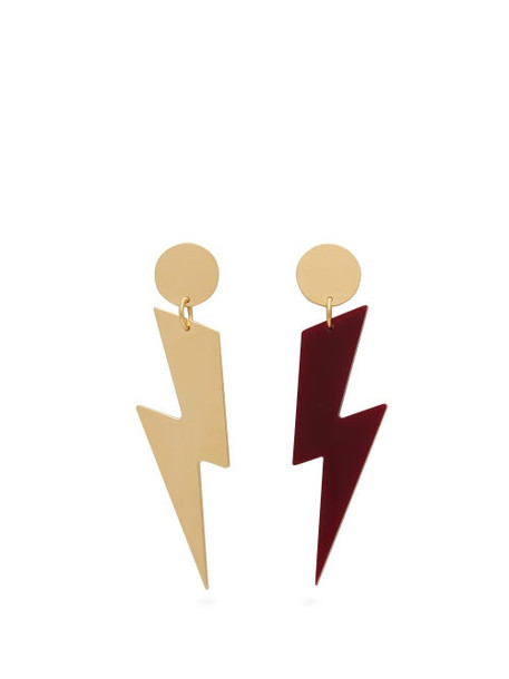 Isabel Marant - Mismatched Lightning Bolt Earrings - Womens - Burgundy