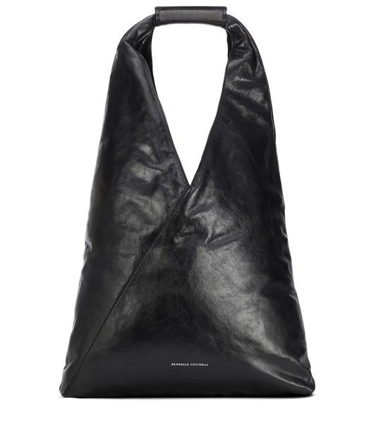 Brunello Cucinelli Embellished leather shoulder bag in black
