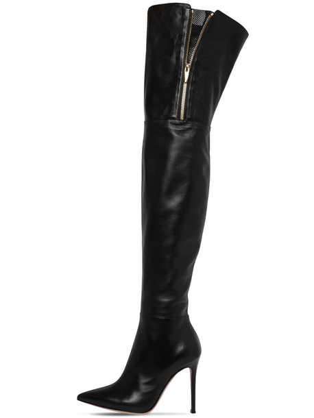 GIANVITO ROSSI 105mm Over-the-knee Leather Boots in black