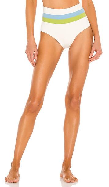 L*SPACE Portia Stripe Bikini Bottom in Cream