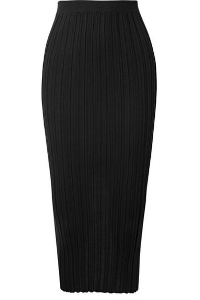Helmut Lang - Ribbed Merino Wool-blend Midi Skirt - Black