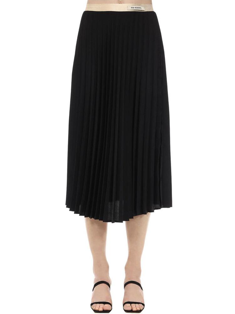 PINK MEMORIES Pleated Crepe Midi Skirt in black