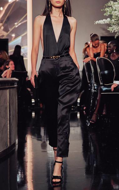 Ralph Lauren Aldo Silk Satin Cropped Pants Size: 0 in black