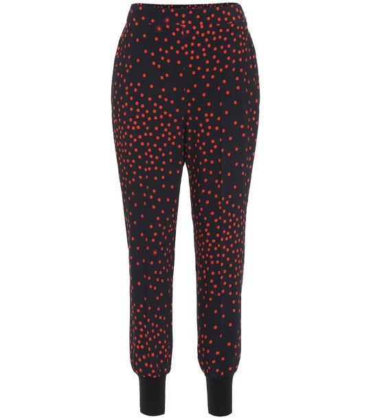 Stella McCartney Polka-dot stretch-crêpe skinny pants in red