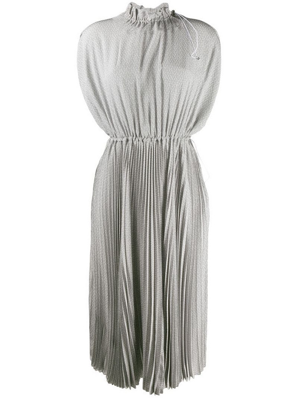 Fendi toggle detailed pleated dress in grey