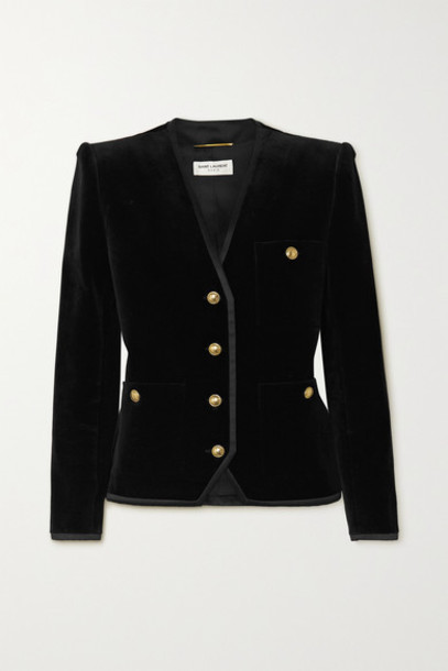 SAINT LAURENT - Grosgrain-trimmed Cotton-velvet Blazer - Black