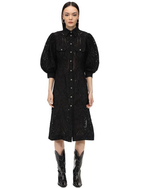 GANNI Broderie Anglaise Midi Dress in black