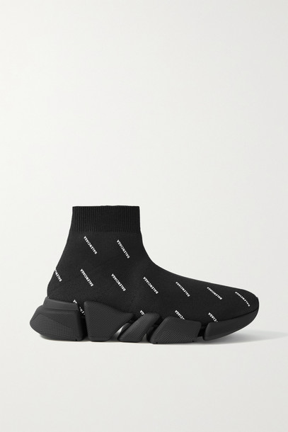 BALENCIAGA - Speed 2.0 Printed Stretch-knit High-top Sneakers - Black