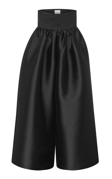 Harris Tapper Kooning Pleated Satin Wide-Leg Trousers in black