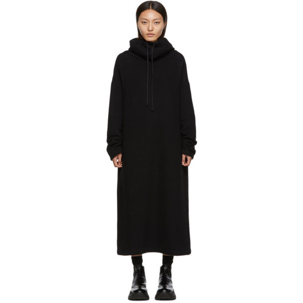 Regulation Yohji Yamamoto Black Slit Hoodie Dress