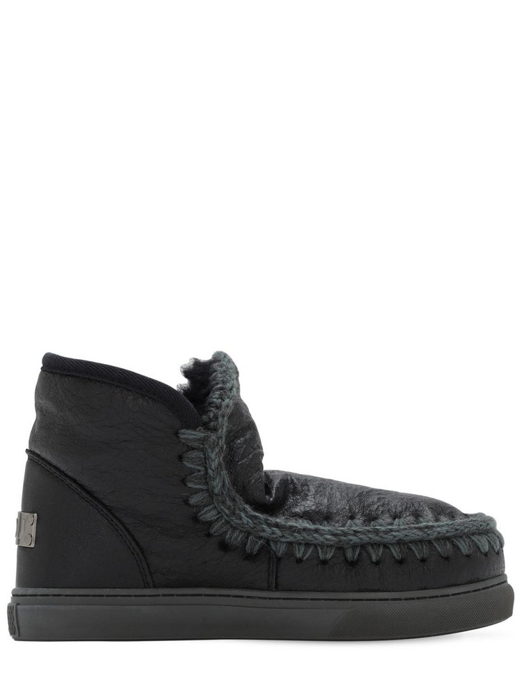 MOU 20mm Eskimo Sneaker Cracked Leather Boot in black