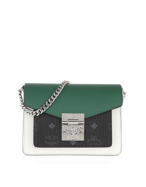 Mcm Patricia Visetos Leather Block Mini Crossbody Bag in black / green