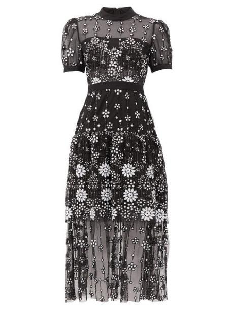 Self-portrait - Floral Sequinned Tulle Midi Dress - Womens - Black