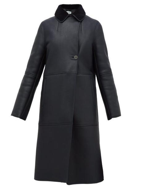 Loewe - Notch-lapel Shearling Coat - Womens - Navy