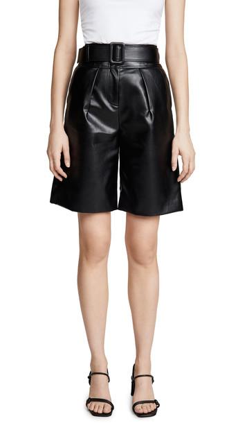 Self Portrait Faux Leather Bermuda Shorts in black