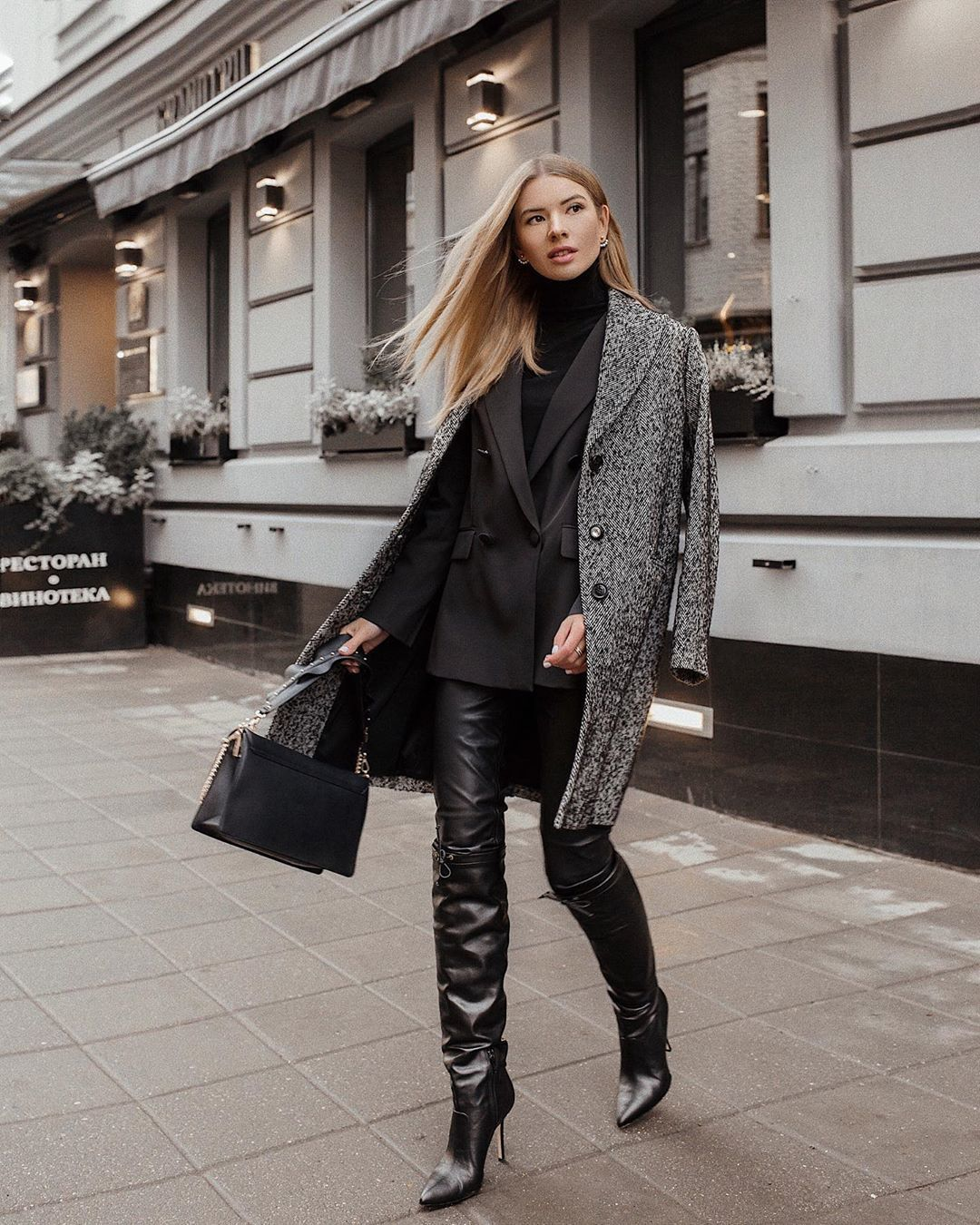 coat long coat black boots over the knee boots black leather pants black blazer double breasted black turtleneck top black bag