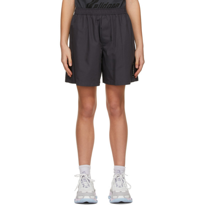 We11done Grey Logo Patch Shorts in charcoal
