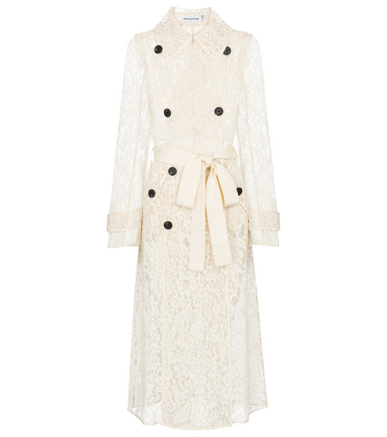 Self-Portrait Floral lace trench coat in white