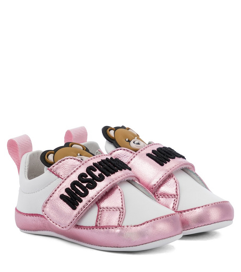 Moschino Kids Baby leather sneakers in white