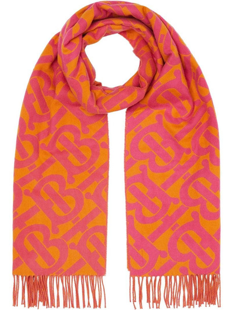 Burberry monogram cashmere scarf in pink