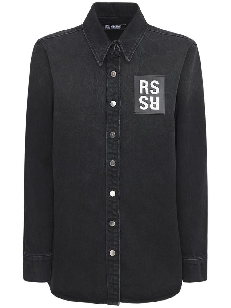 RAF SIMONS Cotton Denim Shirt W/ Logo Patch in black / white