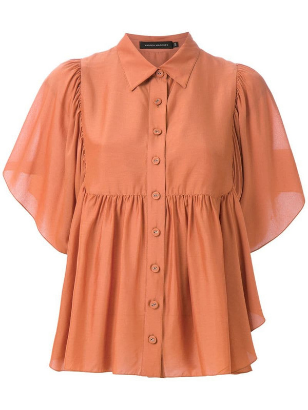 Andrea Marques button-up ruffled blouse in brown