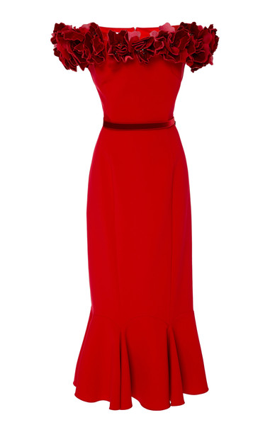 Marchesa Floral-Appliquéd Off-The-Shoulder Crepe Dress Size: 4 in red