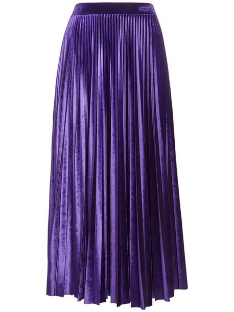 VALENTINO Pleated Velour Midi Skirt W/ Logo Detail in purple