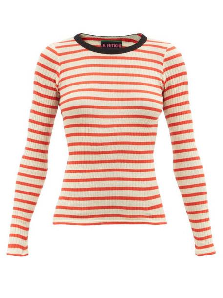 La Fetiche - Jackie Raye Striped Rib-knitted Cotton Sweater - Womens - Red White